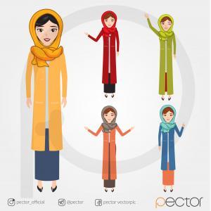 وکتور بانو,islamic Woman vector